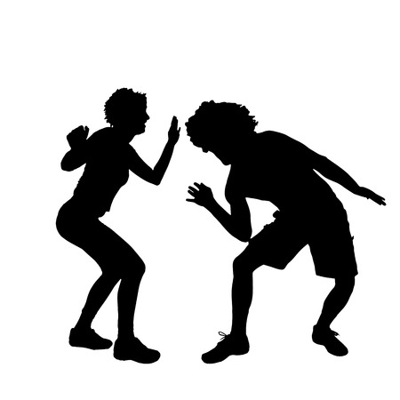 male dancer: Vector silhouette of a dancing couple on a white background. Illustration