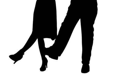 tango dance: Vector silhouette of a dancing couple on a white background. Illustration