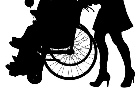 pushes: Vector silhouette leg woman who pushes a wheelchair.