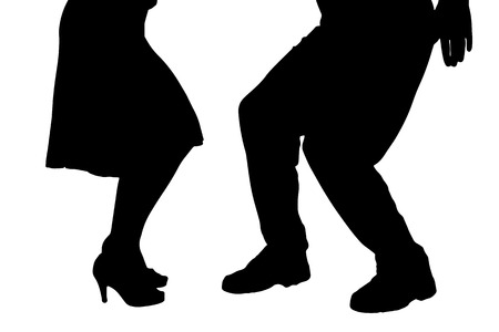 black people dancing: Vector silhouette of a dancing couple on a white background. Illustration