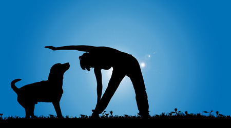 yoga outside: Vector silhouette of a woman with a dog on a meadow.