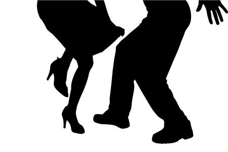 girls feet: Vector silhouette of a dancing couple on a white background. Illustration