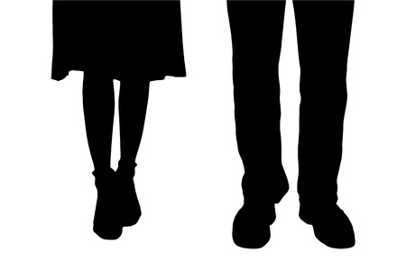 legs woman: Vector silhouette of a couple on a white background.
