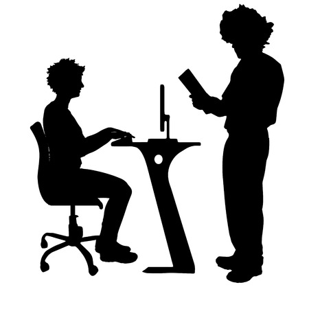 dictate: Vector silhouette of couple in office on white background.