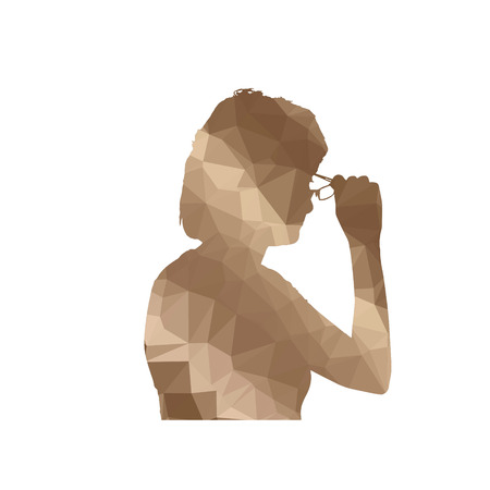diopter: Low poly silhouette woman on white background. Illustration
