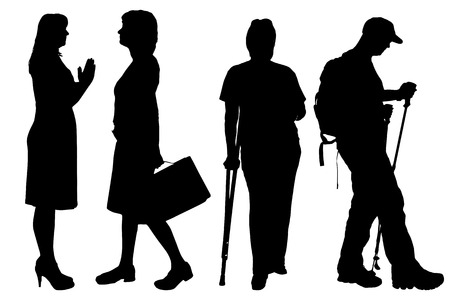 woman walk: Vector women silhouette on a white background.
