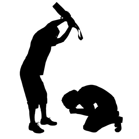 hopeless: Vector silhouette of couple who argue against a white background.