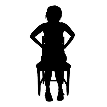 ire: Vector silhouette of a woman who is sitting on a white background.