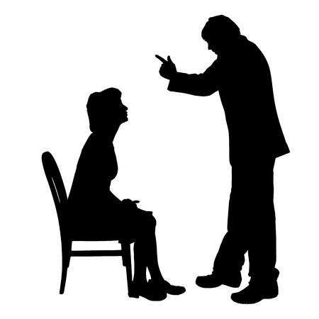 Vector silhouette de couple qui plaident contre un fond blanc. Banque d'images - 42687441