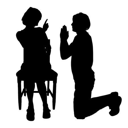 Vector silhouette de couple qui plaident contre un fond blanc. Banque d'images - 42687618