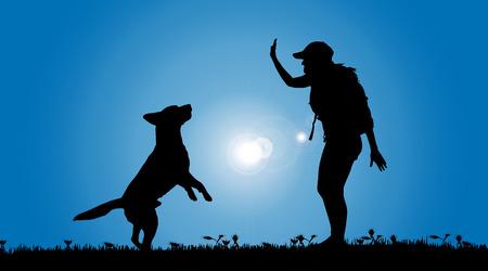 dog days: Vector silueta de una mujer con un perro en un prado.