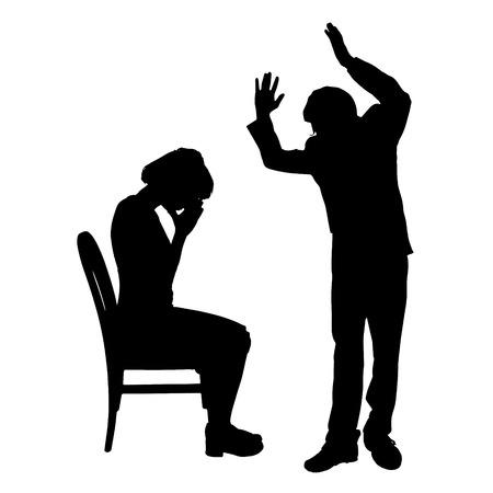Vector silhouette de couple qui plaident contre un fond blanc. Banque d'images - 42687676