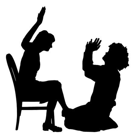Vector silhouette de couple qui plaident contre un fond blanc. Banque d'images - 42688023
