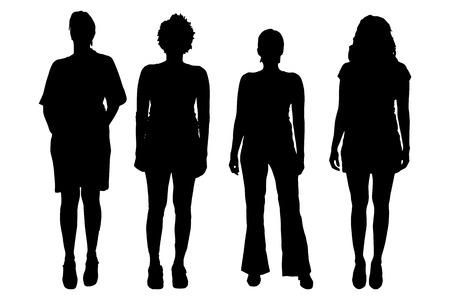 Las mujeres del vector silueta sobre un fondo blanco. Vectores