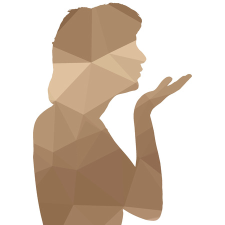 human face: Low poly silhouette woman on white background. Illustration