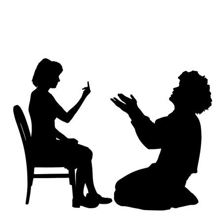 Vector silhouette de couple qui plaident contre un fond blanc. Banque d'images - 42688037