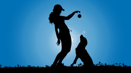 training: Vector silhouette of a woman with a dog on a meadow.