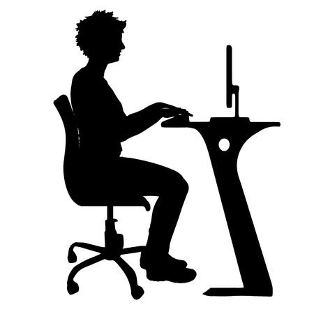 computer table: Vector silhouette of a woman who sits in the office.
