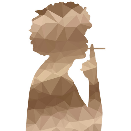 cigar shape: Low poly silhouette man on white background.