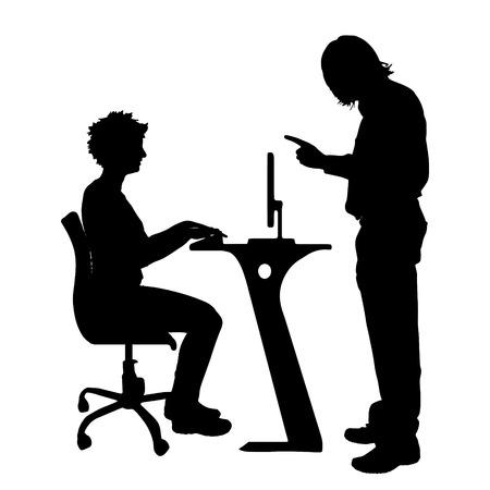 Vector silhouette de couple qui plaident contre un fond blanc. Banque d'images - 42688133