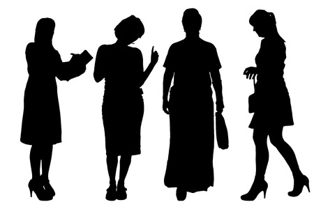 collaborator: Vector women silhouette on a white background.