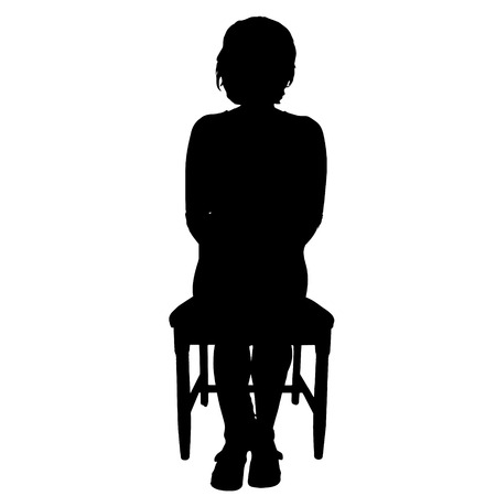 spite: Vector silhouette of a woman who is sitting on a white background.