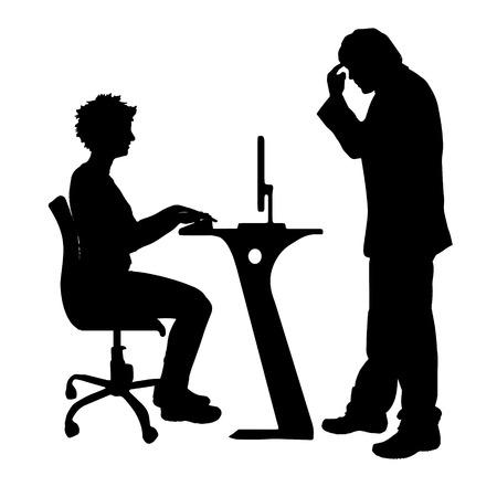 Vector silhouette de couple qui plaident contre un fond blanc. Banque d'images - 42688431