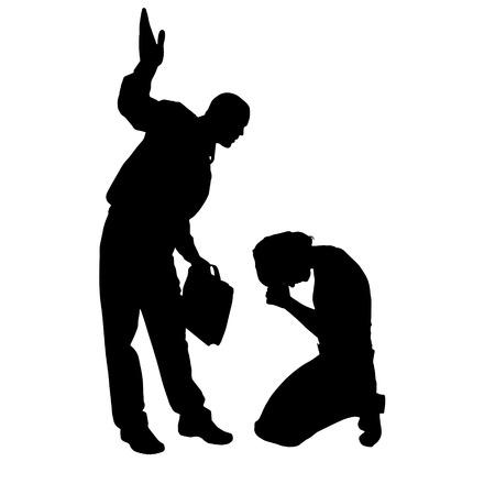 siluetas mujeres: Vector silueta de pareja que argumentan en contra de un fondo blanco.