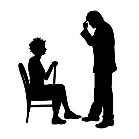 Vector silhouette de couple qui plaident contre un fond blanc. Banque d'images - 42688560