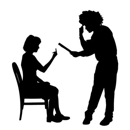 Vector silhouette de couple qui plaident contre un fond blanc. Banque d'images - 42688575