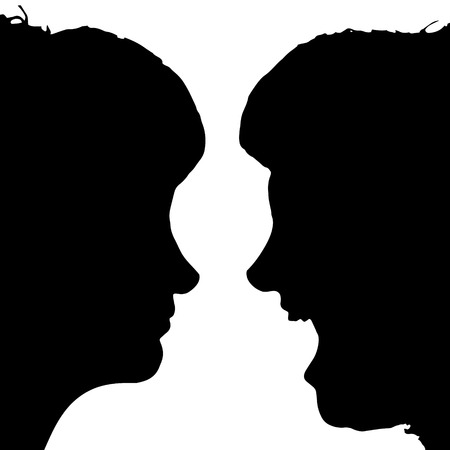 ire: Vector silhouette profile of a womans face on a white background. Illustration
