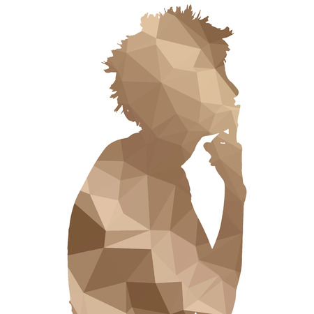 contemplating: Low poly silhouette woman on white background. Illustration