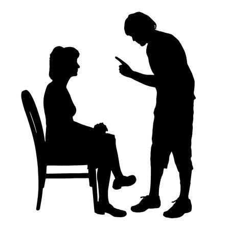 Vector silhouette de couple qui plaident contre un fond blanc. Banque d'images - 42689216