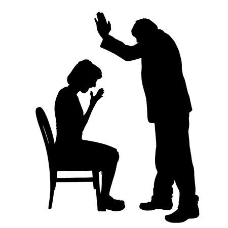 Vector silhouette de couple qui plaident contre un fond blanc. Banque d'images - 42689451