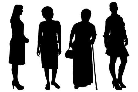 damas antiguas: Las mujeres del vector silueta sobre un fondo blanco. Vectores
