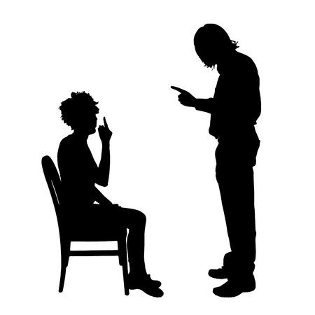 Vector silhouette de couple qui plaident contre un fond blanc. Banque d'images - 42689458