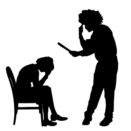 Vector silhouette of couple who argue against a white background.