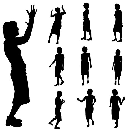 scold: Black silhouette of womans on white  background.