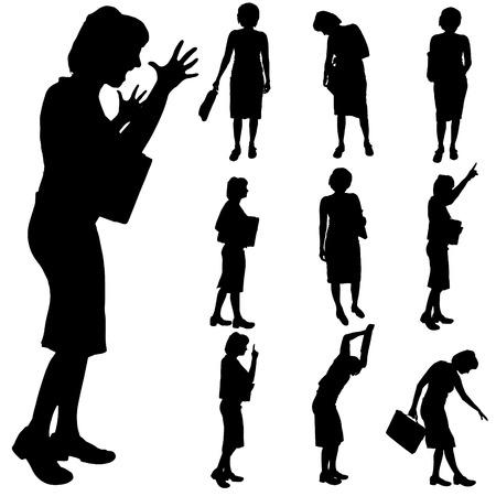persona sentada: Negro silueta de la mujer en el fondo blanco.