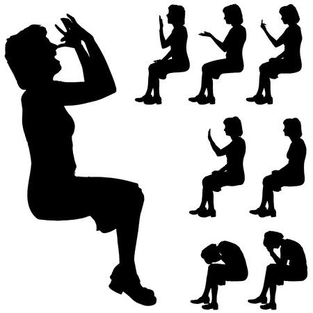 siluetas mujeres: Negro silueta de la mujer en el fondo blanco.