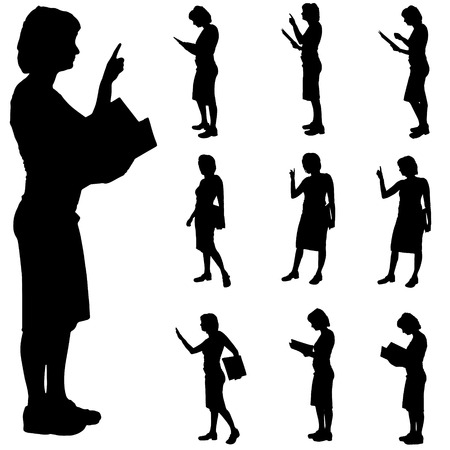 person reading: Black silhouette of womans on white  background.
