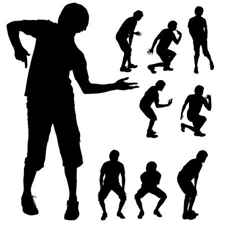 persona saltando: Black silhouette dance man on white background. Vectores