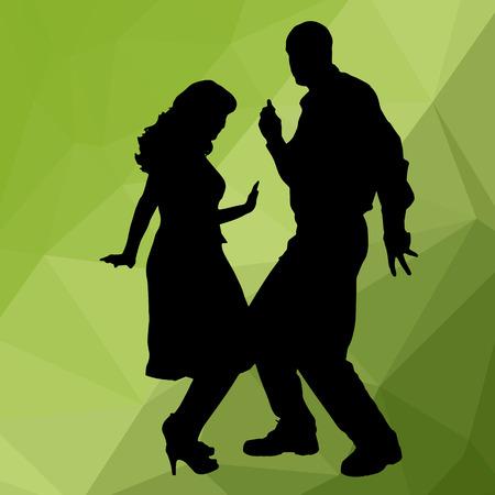 pareja bailando: La gente del baile Silueta con bajo fondo poli Vectores