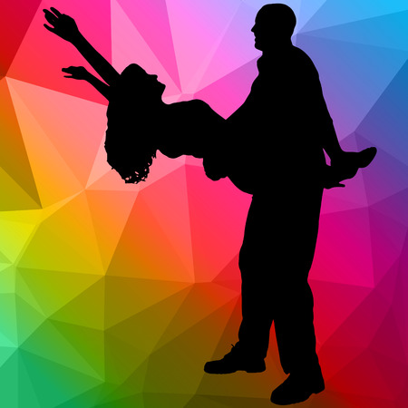 woman black background: Silhouette dancing people with low poly background Illustration