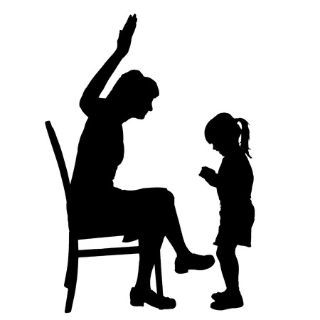 slap: Vector silhouette of family on a white background.