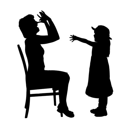 upbringing: Vector silhouette of family on a white background.