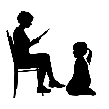 book silhouette: Vector silhouette of family on a white background.