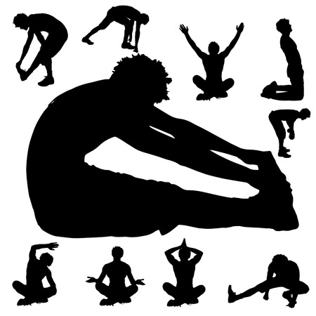 sport man: Vector silhouette sport man on white background.