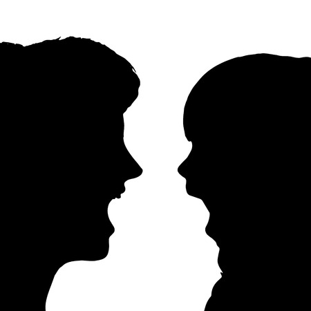 beauty woman: Vector silhouette of family on a white background.