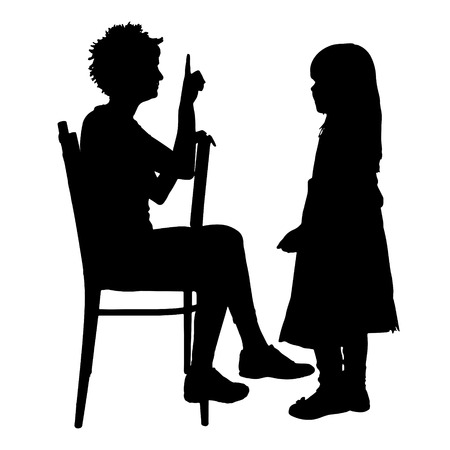 mom daughter: Vector silhouette of family on a white background.